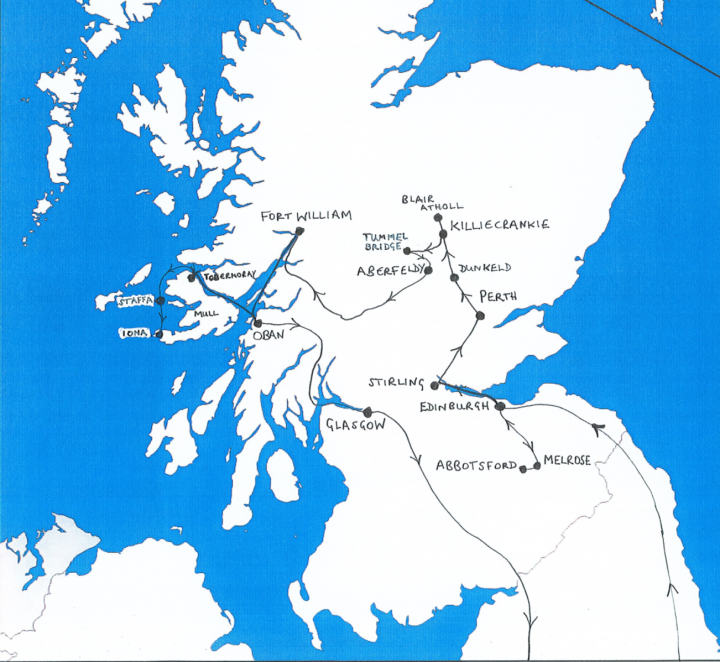 Map of Scotland showing route taken by Mendelssohn in 1829