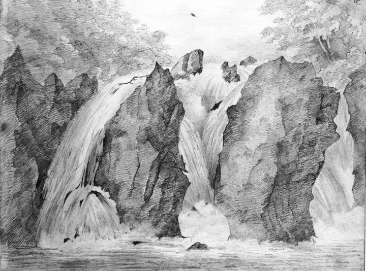 Mendelssohn sketch of the Falls of Braan, near Dunkeld, 2 August 1829