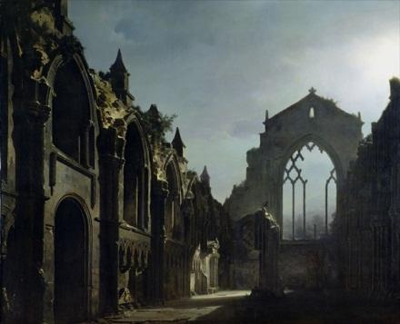 Holyrood Abbey, painting by Louis Daguerre, 1824